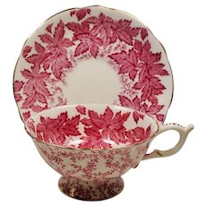 Vintage Coalport England Bone China Cranberry Leaf Teacup and Saucer