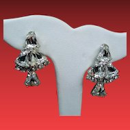 Vintage Colorless Rhinestone Bells Drop Dangle Earrings