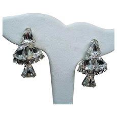 Vintage Colorless Rhinestone Bells Drop Dangle Earrings