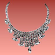 Vintage Colorless Rhinestone Modified Bib Necklace