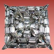 Vintage Colorless Rhinestone Large Square Tiered Brooch