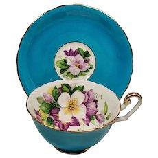 Vintage Clarence England Teal Floral Teacup