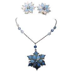 Vintage Claudette Molded Opaline Art Glass Stone Flower Necklace Earrings Demi Parure