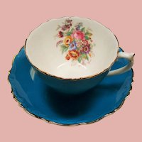 Vintage Coalport Bone China England Teal Blue Floral Teacup and Saucer