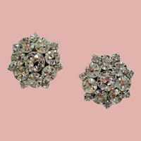 Vintage Clear Rhinestone Large Round Cluster Earrings