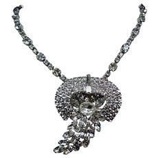 Vintage Colorless Rhinestone Large Pendant Necklace