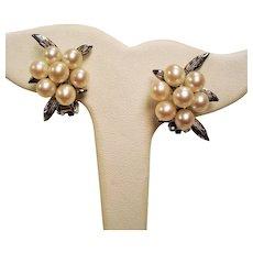 Vintage Akoya Cultured Pearl Cluster Sterling Silver Earrings