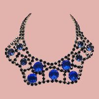 Vintage Couture Cobalt Blue Glass Large Open Back Stone Wide Scalloped Collar Necklace