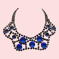 Vintage Cobalt Blue Glass Large Open Back Stone Wide Scalloped Collar Necklace