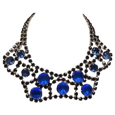 Vintage Cobalt Blue Glass Large Open Back Stone Wide Scalloped Collar Necklace