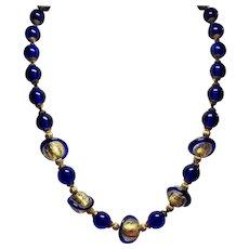 Vintage Cobalt Blue Gold Foil Saturn Glass Bead Princess Length Necklace