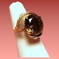 Vintage Large 10 Carat Faceted Cognac Brown Smoky Quartz 14K Gold Cocktail Ring