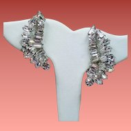 Vintage Elegant Colorless Mixed Shape Rhinestone Crescent Earrings