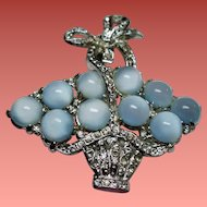 Vintage Coro Moonglow Cabochon Stone Egg Basket Brooch