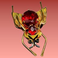Vintage Coro Sterling Faceted Red Glass Belly Insect Bug Brooch