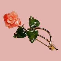 Vintage Carved Coral Rose Nephrite Jade Leaves Brooch