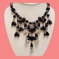 Vintage Carol Dauplaise Black Faceted Glass Bead Rhinestone Dripping Bib Necklace
