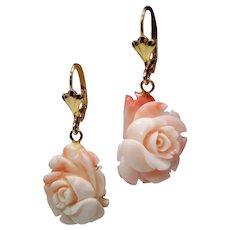 Vintage Angel Skin Coral Carved Flower Drop Earrings