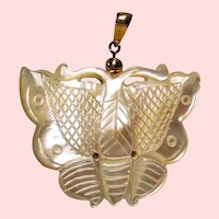 Estate Mother of Pearl Carved Butterfly 14K Pendant