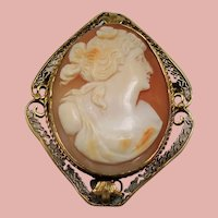 Vintage Carved Greek Goddess Flora Cameo 14K Brooch Pendant