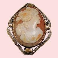 Vintage Carved Greek Goddess Flora Cameo 14K Brooch Pendant