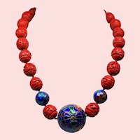Vintage Chinese Export Carved Cinnabar Shou Cloisonne Bead Necklace