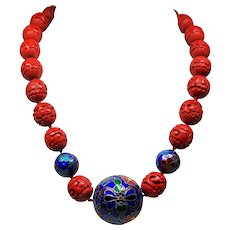 Vintage Chinese Export Carved Cinnabar Huge Cloisonne Bead Necklace