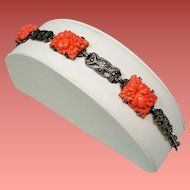 Vintage Art Deco Faux Coral Molded Glass Flowers Sterling Marcasite Bracelet