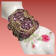 Vintage Czech Faceted Amethyst Glass Stone Huge Foliated Plaque Wide Bracelet