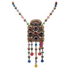 Vintage Art Deco Czechoslovakian Rhinestone Faceted Glass Bead Flapper Necklace