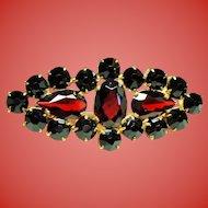 Vintage Czechoslovakia Faceted Garnet Glass Brooch