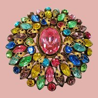 Vintage Czechoslovakia Rainbow of Rhinestones Large Brooch