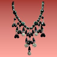Vintage Dauplaise Faceted Black Glass Bead Rhinestone Rondelle Dripping Bib Necklace