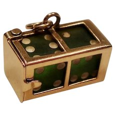 Vintage Pair of Dice in Mechanical Case 14K Gold Charm