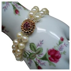 Vintage Cultured Pearl Double Strand Bracelet 14K Ruby Clasp