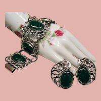 Vintage Danecraft Sterling Large Green Glass Stones Wide Bracelet Earrings Demi Parure