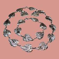 Vintage Danecraft Sterling Silver Leaves Necklace Bracelet Earrings Parure