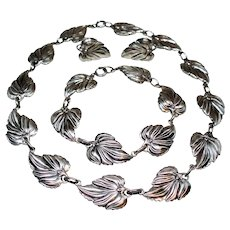 Vintage Danecraft Sterling Silver Leaves Necklace Bracelet Earrings Parure