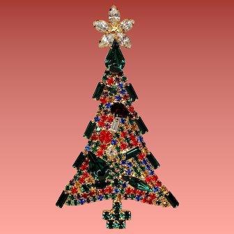 Vintage Unsigned Dominique Vivid Rhinestone Large Christmas Tree Brooch