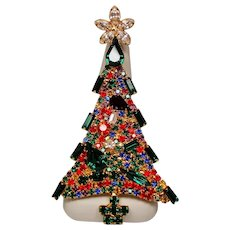 Vintage Unsigned Dominique Large Rhinestone Christmas Tree Pin Brooch