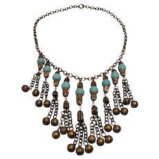 Vintage Unsigned Miriam Haskell Style Drippy Bead Necklace