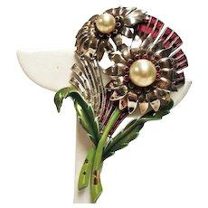 Vintage Du Jay Dujay Faux Pearl Rhinestone Huge Double Flower Brooch