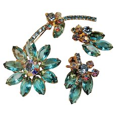 Vintage D&E Juliana Aqua Rhinestone Large Flower Brooch Earrings Set