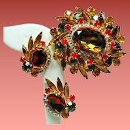 Vintage D&E Juliana Autumn Color Huge Watermelon Heliotrope Rhinestone Brooch & Earrings Set