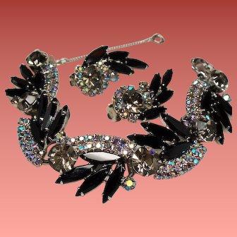 Vintage D&E Juliana Black Navette Aurora Borealis Rhinestone Bracelet Earrings Demi Parure