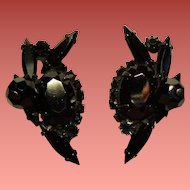 Vintage D&E Juliana Black Rhinestone & Bead Earrings