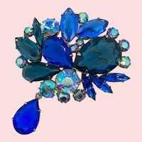 Vintage D&E Juliana Cobalt Blue Huge Open Back Stone Drop Pendant Brooch