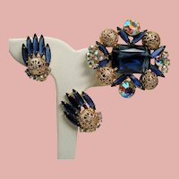Vintage D&E Juliana Montana Blue Rectangular Open Back Stone Filigree Balls Brooch Earrings Set