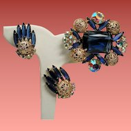 Vintage D&E Juliana Montana Blue Rectangular Open Back Stone Filigree Balls Brooch Earrings Set