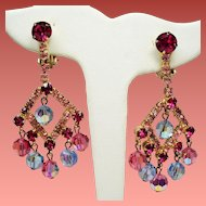 Vintage Juliana D&E Fuchsia Pink Rhinestone Faceted Bead Chandelier Earrings